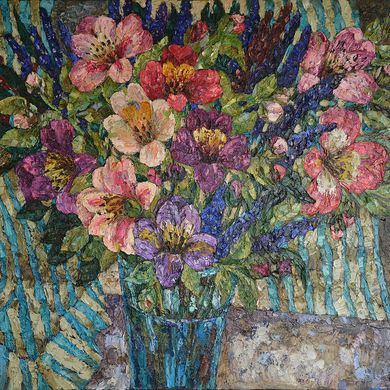Bouquet with a striped drapery 2009 oil canvas