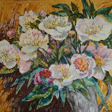 Peonies 2014 50x70 oil canvas