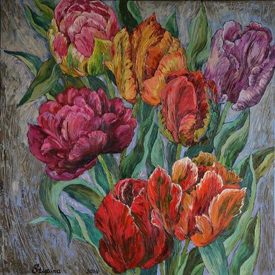 Tulips 2014 70x70 oil canvas