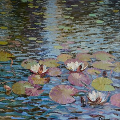 Water lilies 2014 70x70 oil canvas