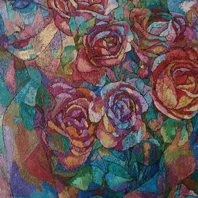 Birthday roses 70x100 paperboard oil 2014