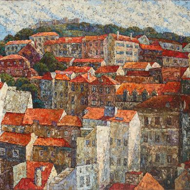 2007-072, City on a hill, 2007, 100х120, Oil-canvas