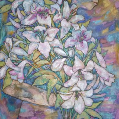 Lilies 2014 92x73 oil canvas