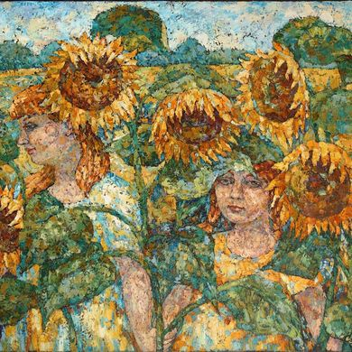 2007-123, Sunflowers, 2007, 80х100, Oil-canvas