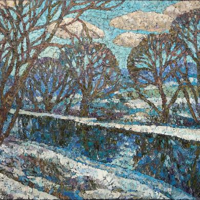 2008-114, Winter river, 2008, 80х100, Oil-canvas