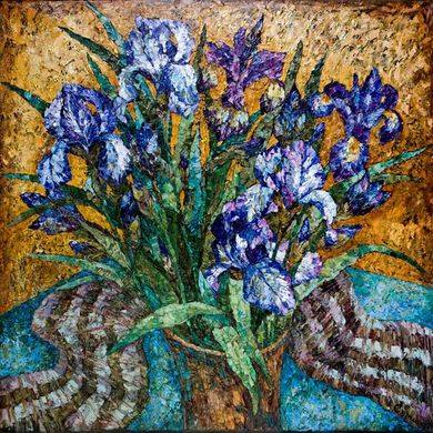 2008-1165, Bouquet irises, 2008, 100х100, Oil-canvas
