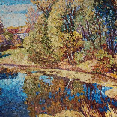 2008-9884, Autumn pond, 2008, 80х100, Oil-canvas
