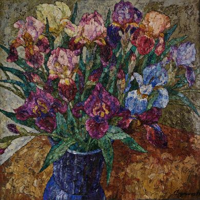 2008-9902, Irises in blue vase, 2008, 85x85, Oil-canvas, sold