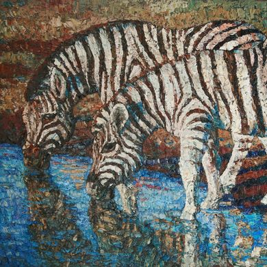 2008-9927, Zebras, 2008, 80х100, Oil-canvas, sold