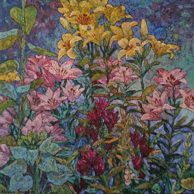 Lilies in the garden 2016 90x90 oil canvas