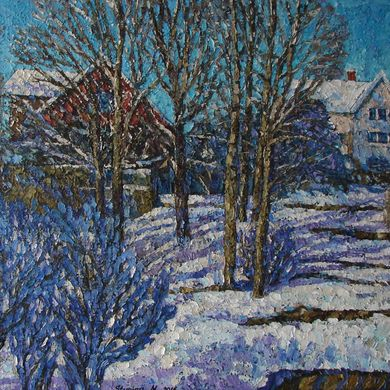 Series Winter shadows Snow day 2016 80x100 oil canvas