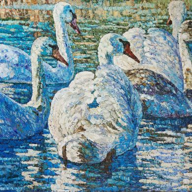 2008-9879, Blue swans, 2008, 80х100, Oil-canvas