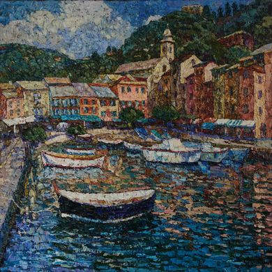 2008-9900, Boats of Portofino, 2008, 80х80, Oil-canvas