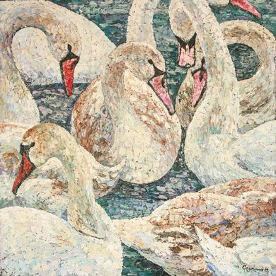 2008-9909, Swans round dance, 2008, 90x90, Oil-canvas
