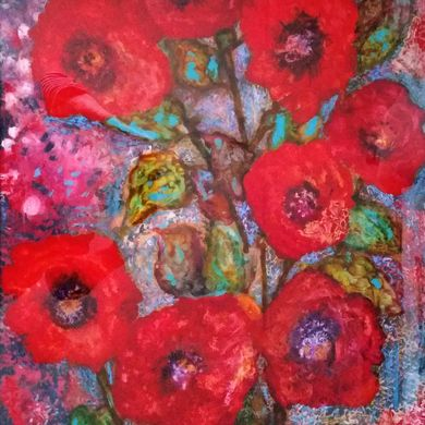 Red poppies 2017 70x50 plexiglass mix media